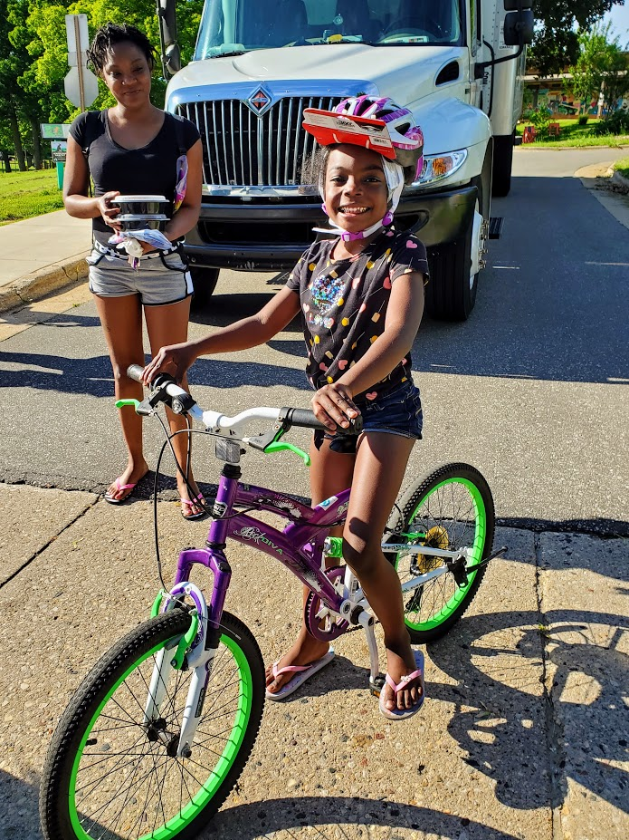 Lake View School bike recipient smiling